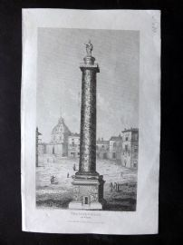 Gallery of Nature 1818 Antique Print. Trajan's Pillar at Rome, Italy